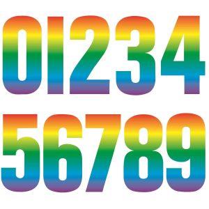 Rainbow Wheelie Bin Numbers Self Adhesive Stickers