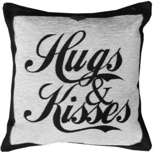 Rapport Hugs and Kisses Chenille Cushion Cover, Black, 45 x 45 cm