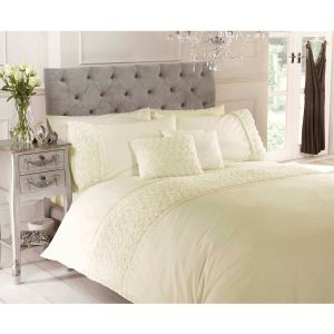 Belle Maison Limoges Rose Ruffle Duvet Cover and Pillowcase Set, Cream