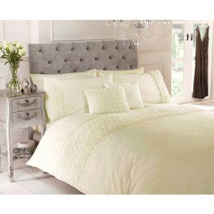 Belle Maison Limoges Rose Ruffle Duvet Cover and Pillowcase Set, Cream