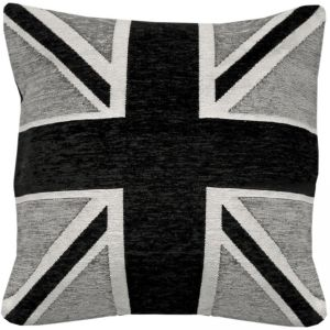 Rapport Union Jack Flag Chenille Cushion Cover, Black and Grey, 45 x 45 cm