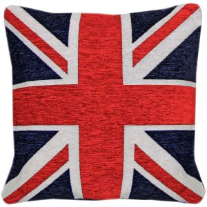 Rapport Union Jack Flag Chenille Cushion Cover, Red, 45 x 45 cm
