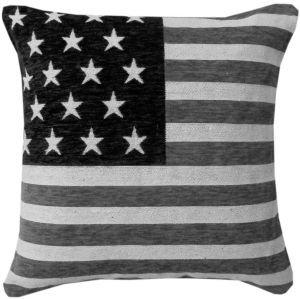 Rapport USA Stars and Stripes Chenille Cushion Cover, Black and White, 45 x 45 cm