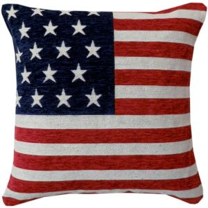 Rapport USA Stars and Stripes Chenille Cushion Cover, Red, 45 x 45 cm