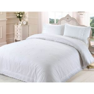 Belle Maison Victoria Lace Embroidered Duvet Cover and Pillowcase Set, White