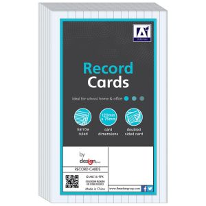 A Star Stationery Record Revision Cards, Narrow Lined - Pack of 80