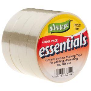 Ultratape Essentials Masking Tape, 18mm x 15m - Pack of 4