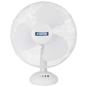 Status 12 Inch Oscillating Desk Fan, White
