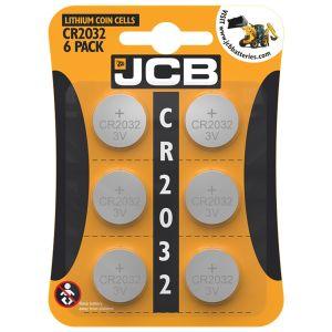 JCB 3V Lithium CR2032 Coin Cell Batteries - Pack of 6
