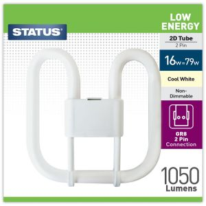 Status Low Energy 2 Pin 2D 16 Watt Fluorescent Tube Light Bulb, Cool White