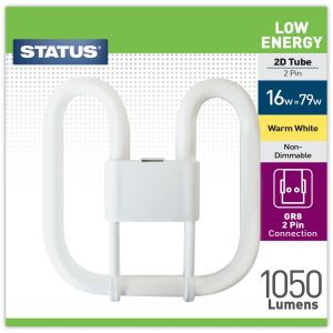 Status Low Energy 2 Pin 2D 16 Watt Fluorescent Tube Light Bulb, Warm White