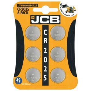 JCB 3V Lithium CR2025 Coin Cell Batteries - Pack of 6