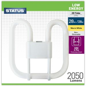 Status Low Energy 2 Pin 2D 28 Watt Fluorescent Tube Light Bulb, Warm White