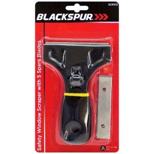 Blackspur Safety Window Scraper with 5 Blades, Black