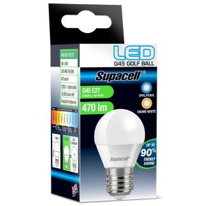 Supacell E27 ES 5 Watt LED G45 Golf Ball Light Bulb, Warm White