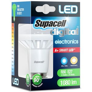 Supacell E27 ES 12 Watt LED R80 Reflector Lightbulb Warm White