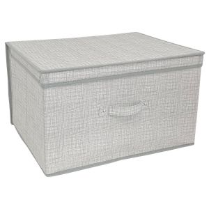 Country Club Linen Look Large Collapsible Storage Box, Grey