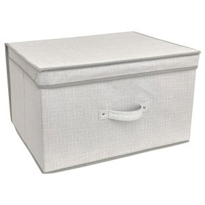 Country Club Linen Look Large Collapsible Storage Box, Natural