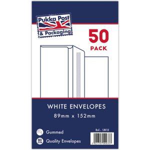 Concord Gummed White 89x152mm Envelopes - Pack of 50