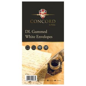 Concord Gummed White DL Envelopes - Pack of 50