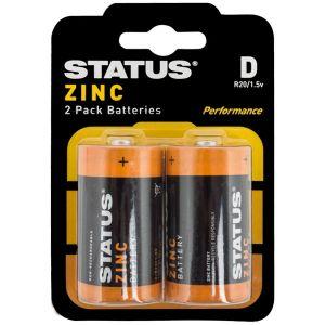 Status Zinc D Size Batteries - Pack of 2