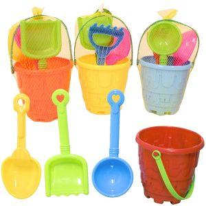 Nalu Beach 4 Piece Small Round Sandcastle Beach Bucket Set
