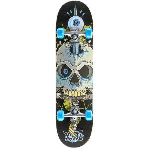 Xootz Snake Skull Double Kick Tail Skateboard - Multi