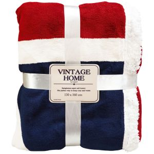 Rapport Union Jack Flag Sherpa Throw, 130 x 160 cm - Blue, Red & White