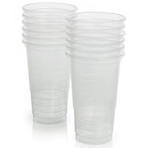 Essential 56cl Plastic Party Pint Tumbler Cups, Clear - Pack of 12