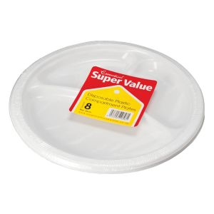 Essential 26cm Round Disposable Plastic 3 Compartment Plates, White - Pack of 8