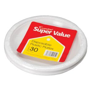 Essential 18cm Round Disposable Plastic Party Plates, White - Pack of 30