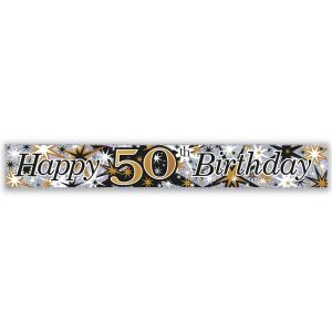 Simon Elvin Happy 50th Birthday Large Foil Party Banner - Male