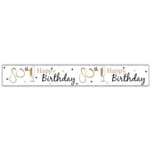 Simon Elvin Happy 80th Birthday Large Foil Party Banner - Unisex