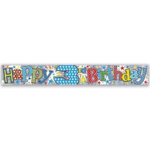 Simon Elvin Happy 3rd Birthday Large Foil Party Banner - Boys