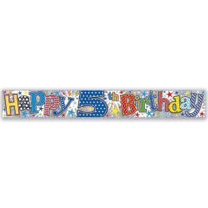 Simon Elvin Happy 5th Birthday Large Foil Party Banner - Boys