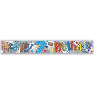 Simon Elvin Happy 7th Birthday Large Foil Party Banner - Boys
