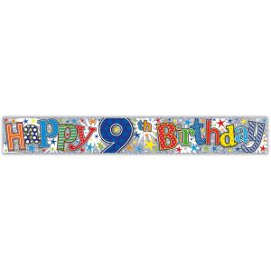 Simon Elvin Happy 9th Birthday Large Foil Party Banner - Boys