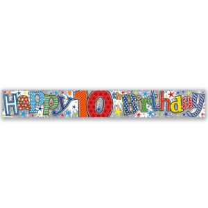 Simon Elvin Happy 10th Birthday Large Foil Party Banner - Boys