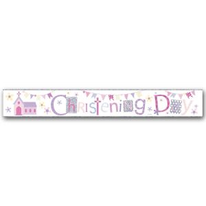 Simon Elvin Christening Day Large Foil Party Banner - Girls