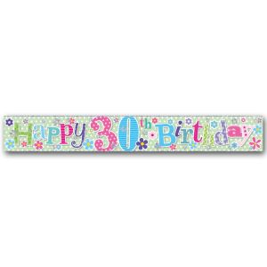 Simon Elvin Happy 30th Birthday Large Foil Party Banner - Female