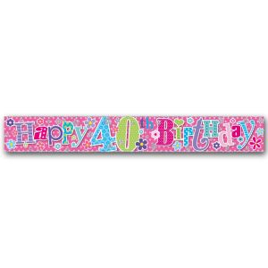 Simon Elvin Happy 40th Birthday Large Foil Party Banner - Female