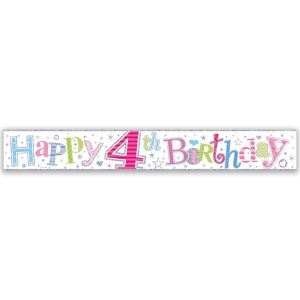 Simon Elvin Happy 4th Birthday Large Foil Party Banner - Girls