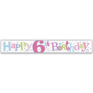 Simon Elvin Happy 6th Birthday Large Foil Party Banner - Girls