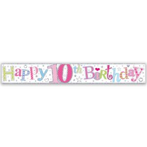 Simon Elvin Happy 10th Birthday Large Foil Party Banner - Girls