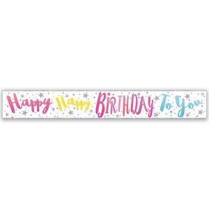 Simon Elvin Happy Happy Birthday To You Large Foil Party Banner - Female