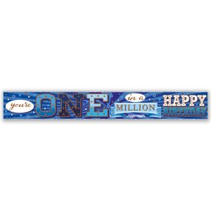 Simon Elvin You're One In a Million - Happy Birthday Large Foil Party Banner - Male Blue