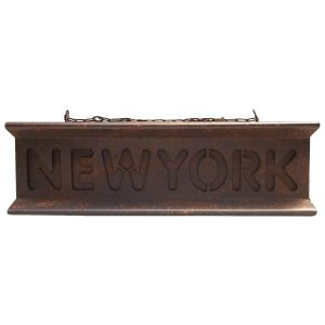 New York Retro Distressed Iron Girder Three Dimensional Hanging Wall Art Decoration, Brown