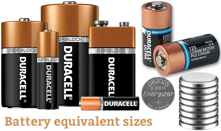 Battery Equivalent Sizes