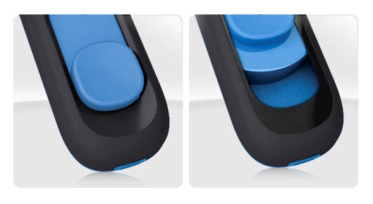 Easy thumb activated sliding capless design
