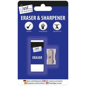 Just Stationery Pencil Eraser & Pencil Sharpener Set